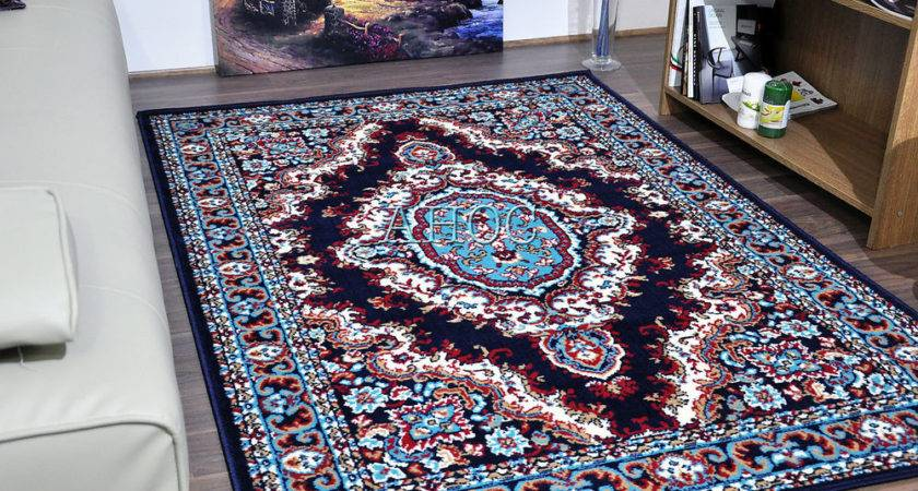 Traditional Medallion Classic Navy Area Rugs Cheap Small