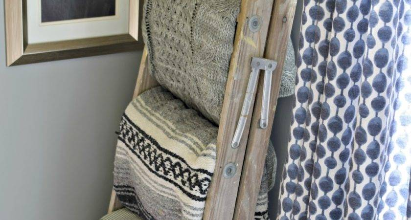 Trash Treasure Rustic Blanket Ladder