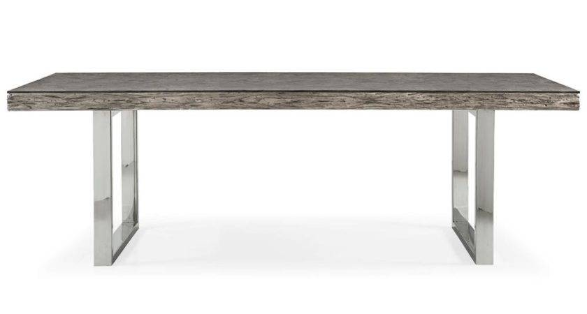 Travers Lodge Stainless Steel Rustic Wood Glass Top Dining