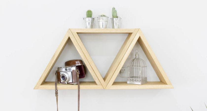 Triangle Geometric Shelves Set Three Wall