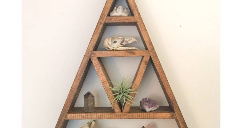 Triangle Shelf Crystal Shadow Box Wood