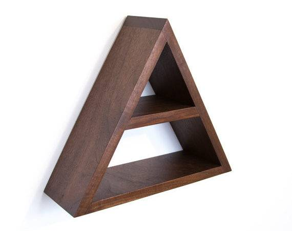 Triangle Shelf Geometric Wood Wall Decor Modern Shelving