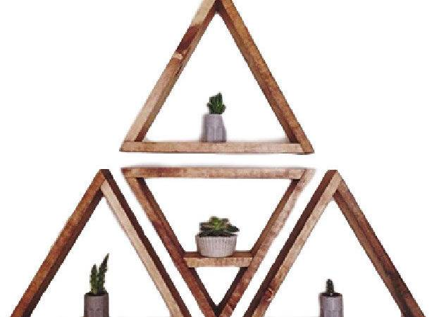 Triangle Shelf Set Light Tan Contemporary Display