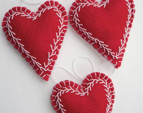 Trio Red Embroidered Felt Heart Ornaments