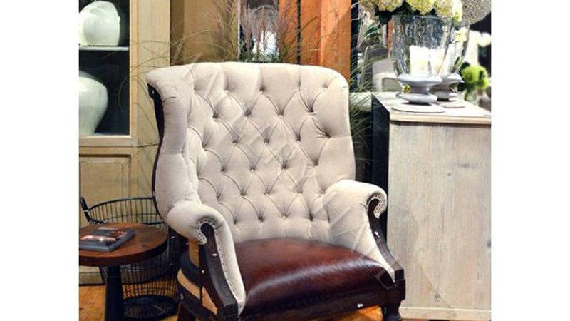 Tufted Back Upholstered Linen Leather Seat Accent Chair Ebay