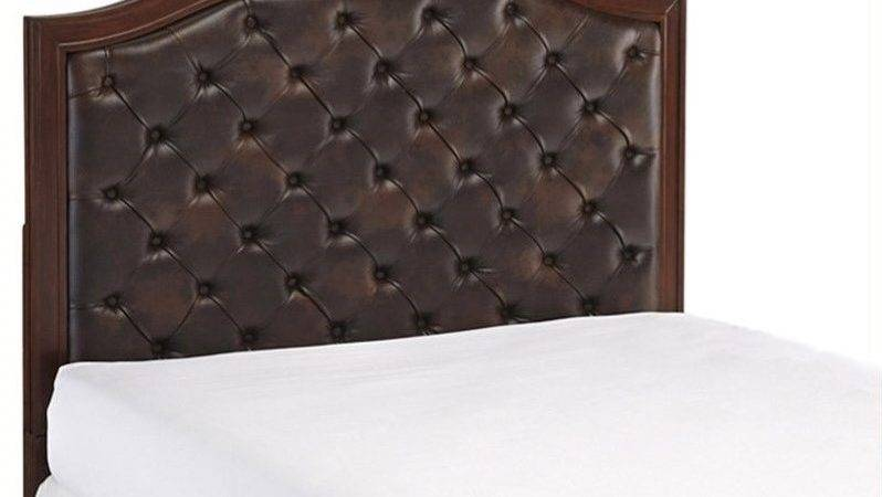 Tufted Panel Headboard Brown Leather Cherry