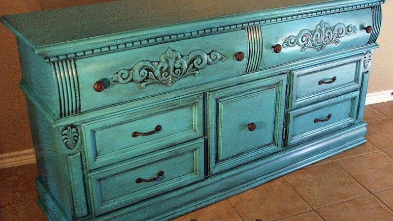 Turquoise Refinished Furniture Facelift