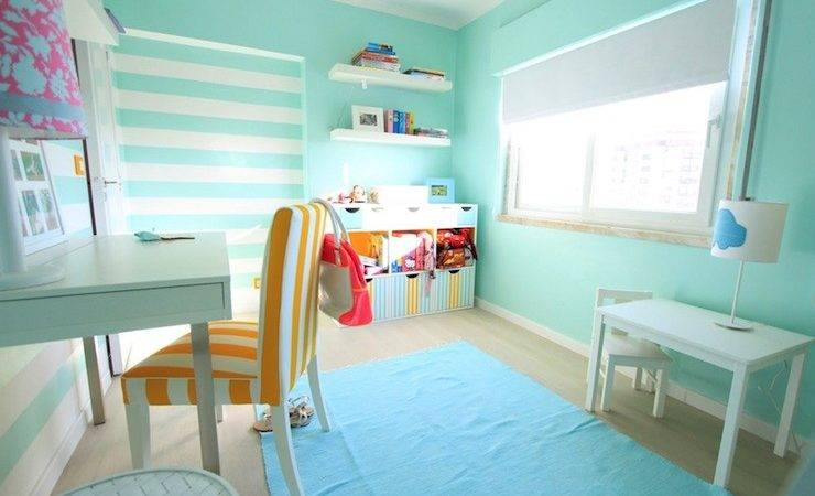 Turquoise Striped Walls Contemporary Girl Room
