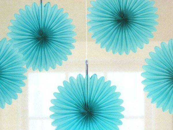 Turquoise Tissue Paper Fan Decorations Pipii