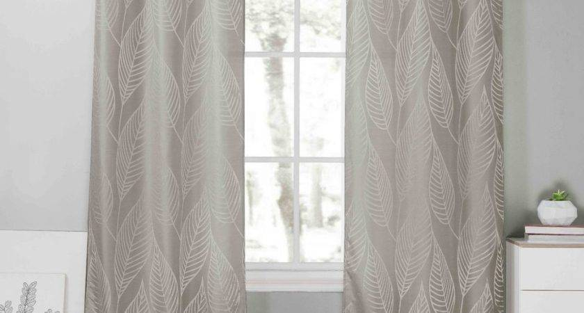 Two Gray Window Curtain Panels Metallic Silver Leaf