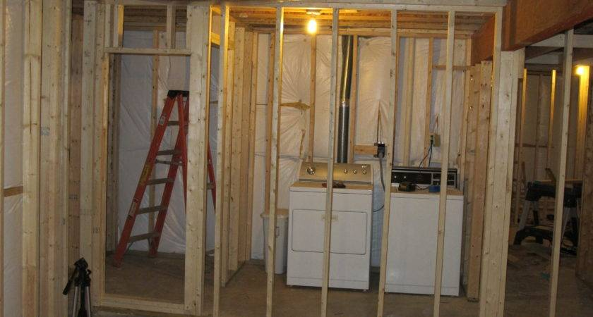 Unfinished Basement Laundry Room Beside Bathroom Small