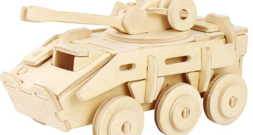 Unfinished Explosion Proof Armored Car Wood Puzzle Toy