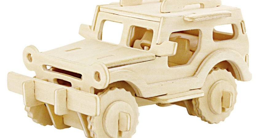 Unfinished Jeep Wood Puzzle Toy Kids Model Building