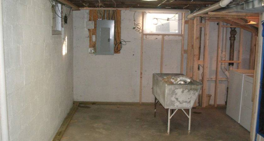 Unfinished Small Basement Laundry Room Design Exposed