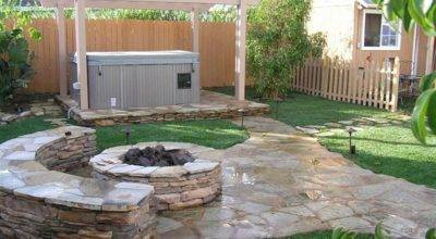 Unique Stone Table Fireplace Completing Outdoor