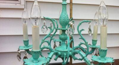 Upcycled Vintage Five Arm Brass Chandelier Tiffany