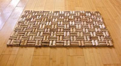 Upcycled Wine Cork Bath Mat Weave Pattern
