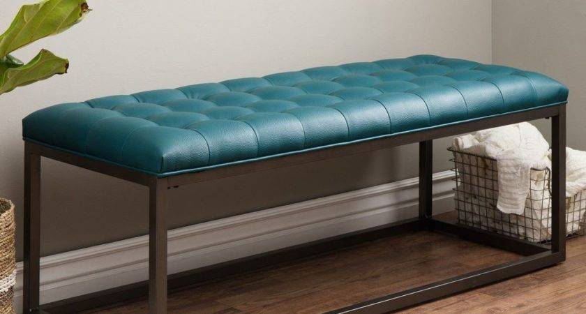 Upholstered Entryway Tufted Leather Bench Seat Hallway