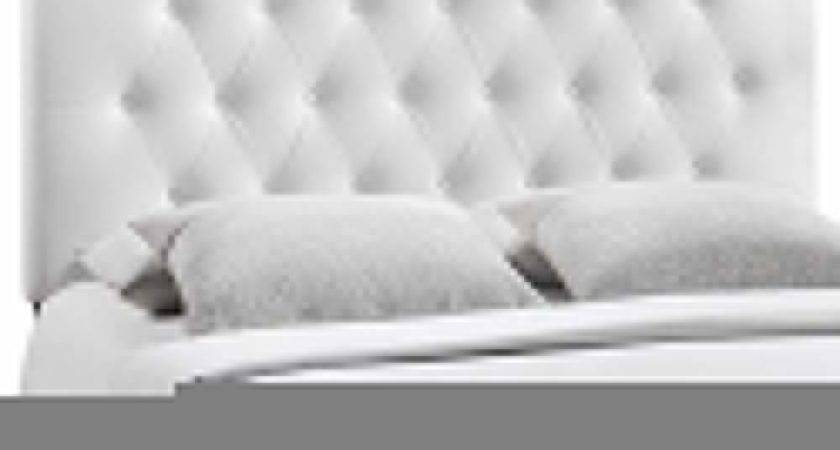 Upholstered Headboard White Button Tufted Faux