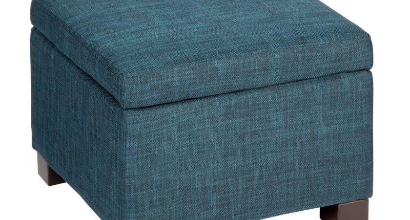 Upholstered Large Square Storage Ottoman Blue