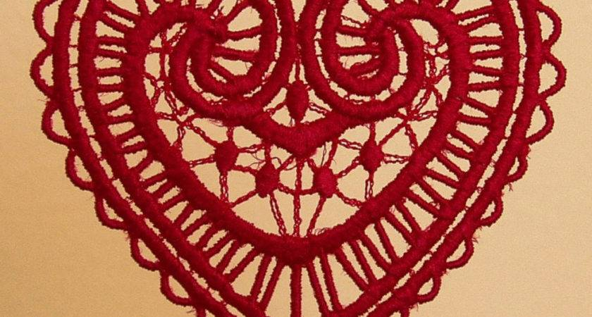Valentine Lace Heart Embroidered