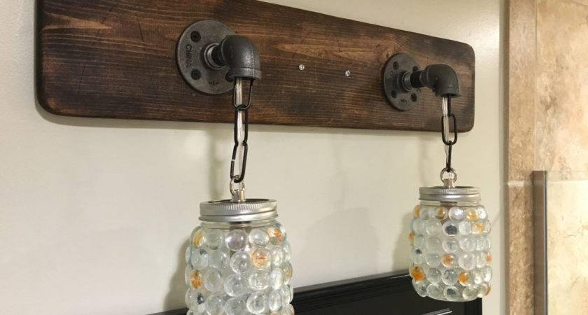 Vanity Light Fixture Mason Jar Gems