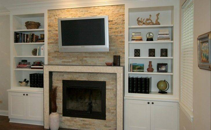 Various Samples Built Cabinet Around Fireplace