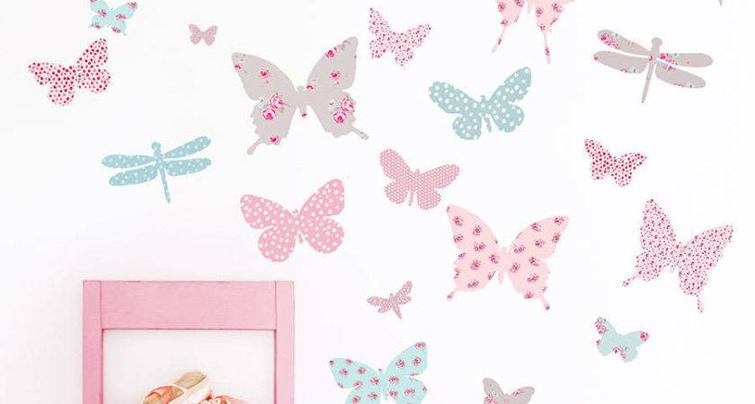 Vintage Floral Butterfly Fabric Wall Stickers Koko Kids
