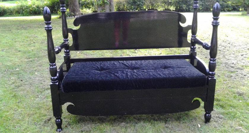 Vintage Headboard Made Into Bench Classic Lines All Black