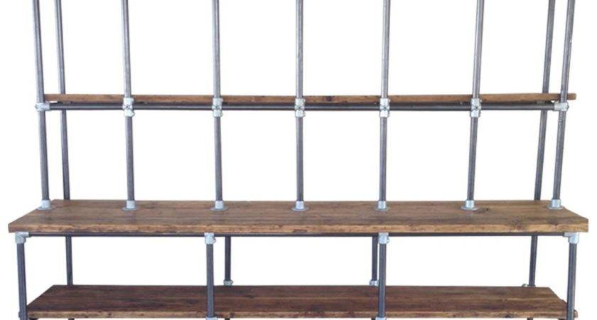 Vintage Industrial Pipe Plank Shelving Shabby Chic
