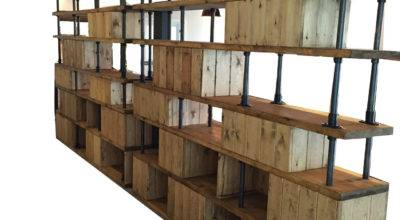 Vintage Industrial Style Dividing Wall Shelving Unit