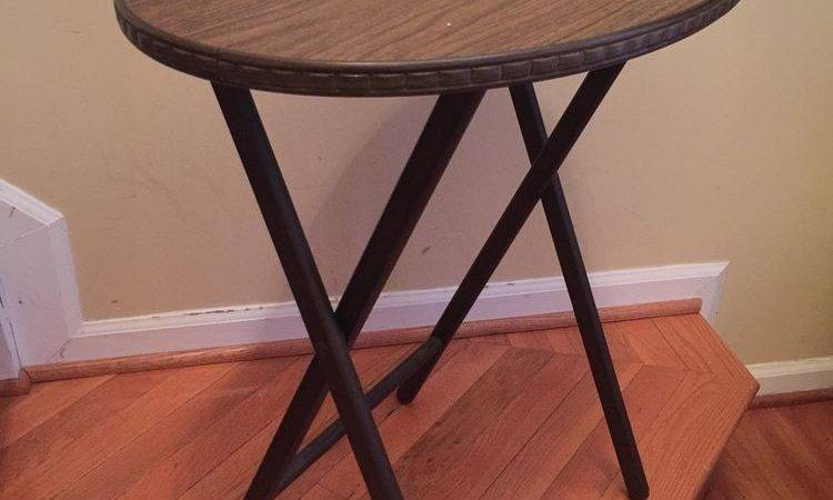 Vintage Mid Century Modern Scheibe Faux Wood Tray Table