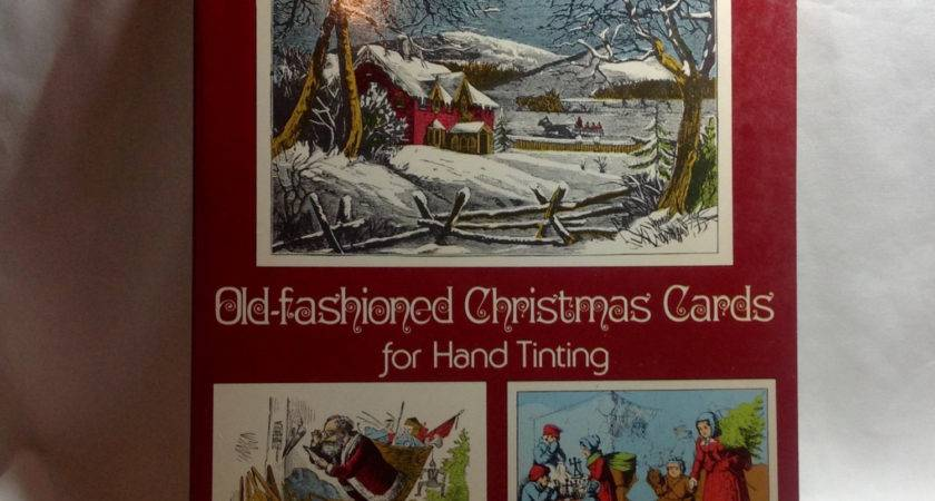 Vintage Old Fashioned Christmas Cards Hand Tinting