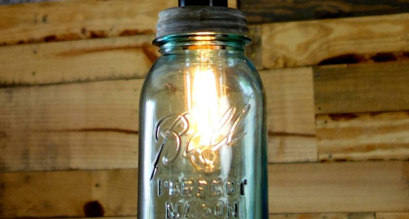 Vintage Quart Ball Mason Jar Pendant Light