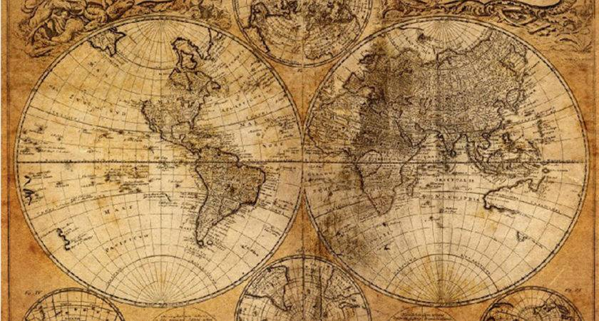 Vintage Style Cloth Poster Globe Old World Nautical Map