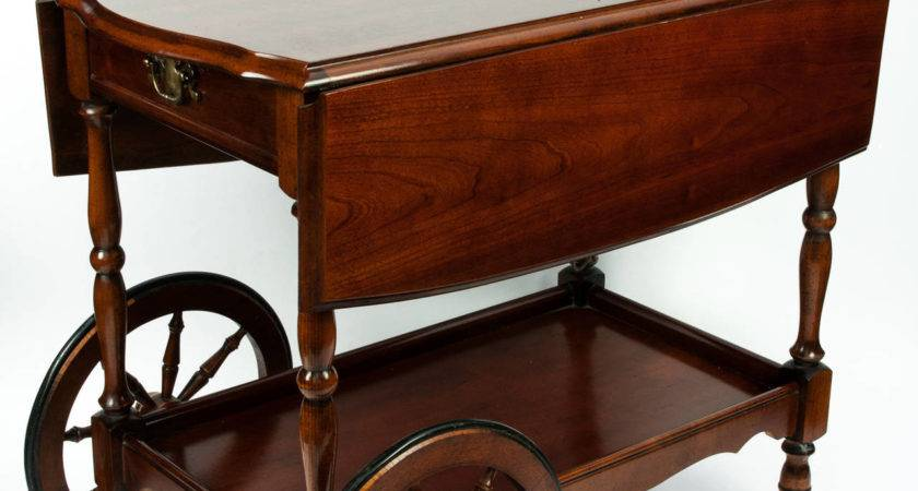Vintage Wheeled Mahogany Wood Bar Cart Sale Stdibs