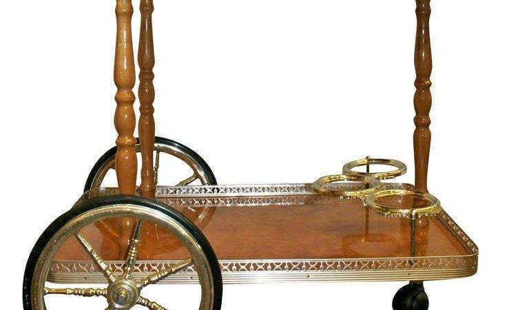 Vintage Wood Brass Bar Cart Stdibs
