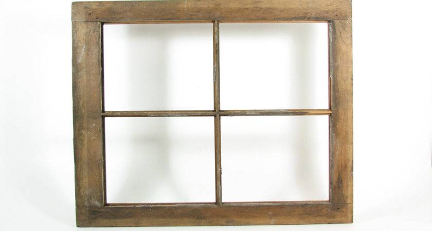 Vintage Wood Window Frame Pane Without Glass Weathered