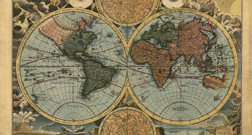 Vintage World Map Reproduction Rolled Canvas Print
