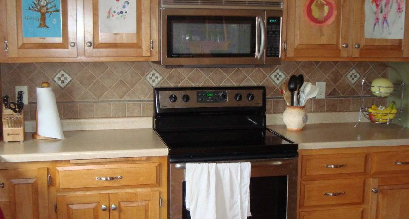 Vinyl Tile Backsplash Solid Surface Countertop Mixed