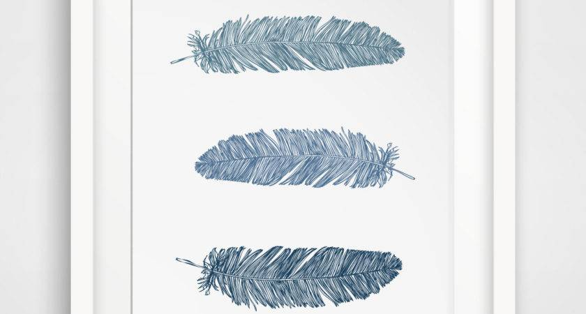 Wall Art Designs Printable Navy Blue Feather