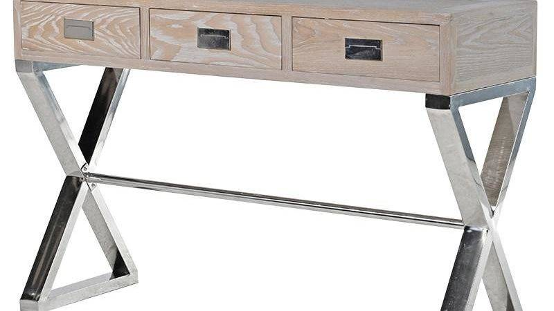 Washed Wood Chrome Leg Console Table Mulberry Moon