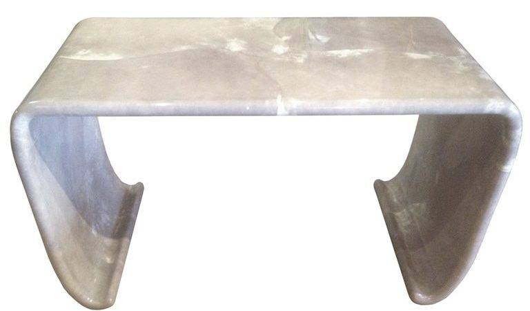 Waterfall Console Table Gray Goatskin Karl Springer