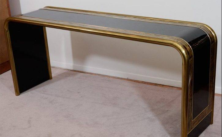 Waterfall Console Table Mid Century Acid Etched Vintage