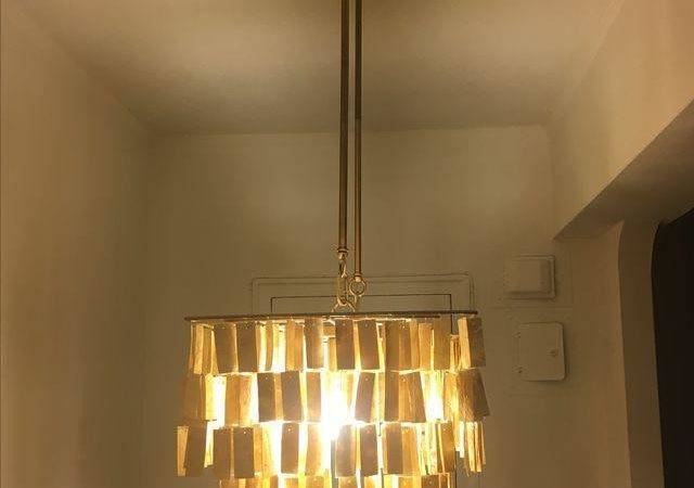 West Elm Hanging Capiz Gold Chandelier Chairish