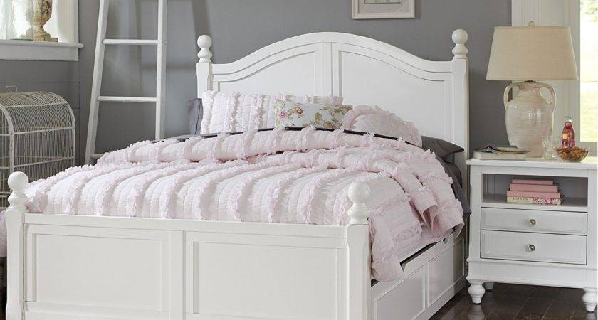 White Bed Trundle Small Nightstand