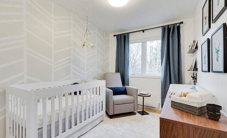 White Blue Boy Nursery Gray Painted Accent Wall
