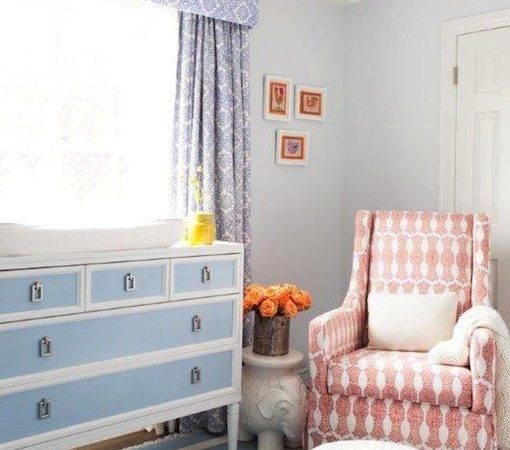 White Blue Changing Table Contemporary Nursery