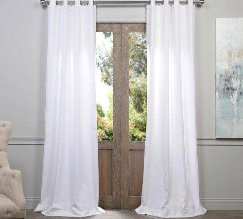 White Inch Grommet Curtain Single Panel Half