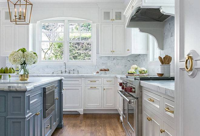 White Kitchen Cabinets Grey Island Design Ideas